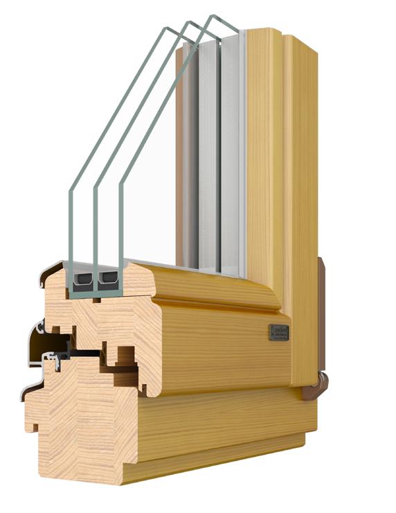 Energooszczędne okna ELITE 92 moga być wykonane z drewna sosnowego, modrzewiowego, meranti lub dębu