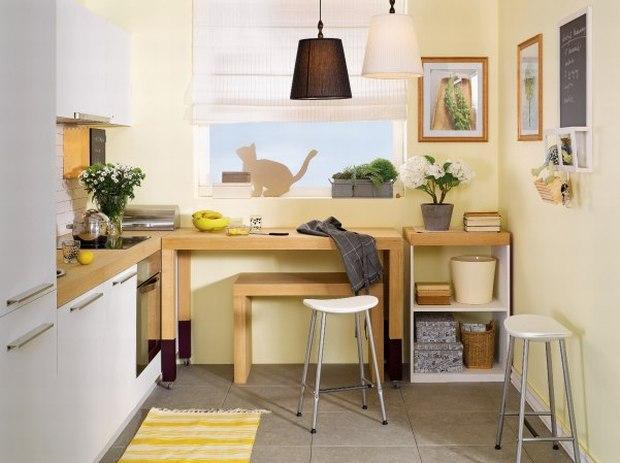 Mała kuchnia w kolorach natury