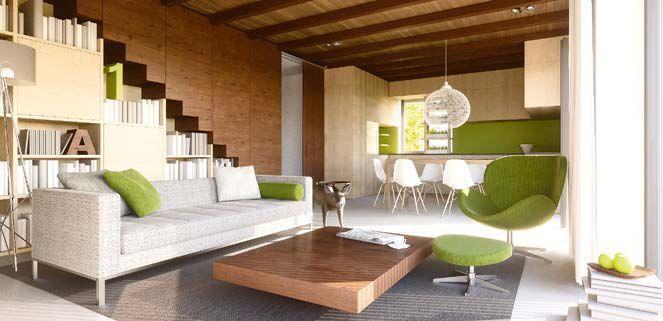 Wnętrza domu wykończone drewnem